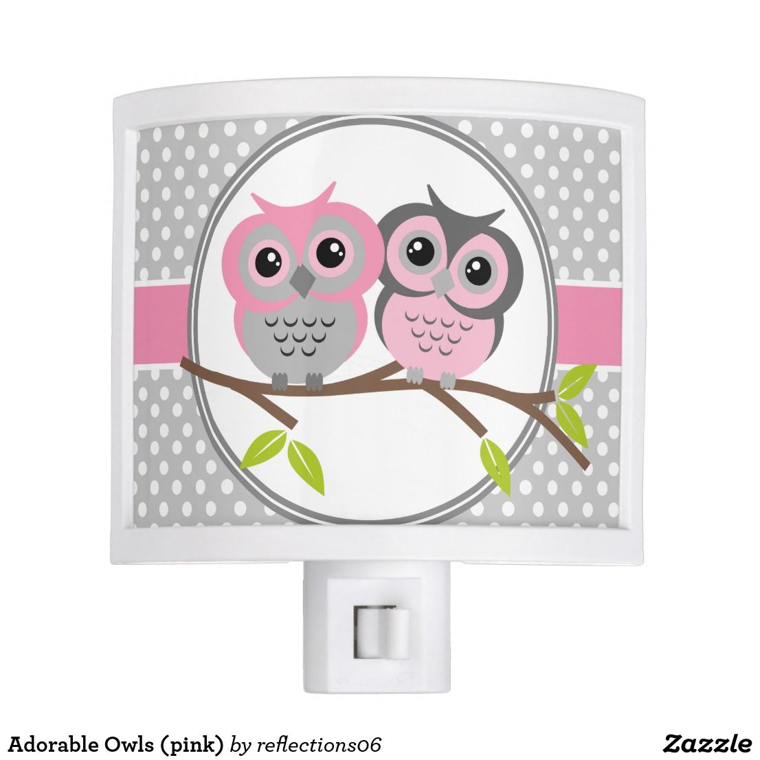 Adorable Owls Pink Night Light