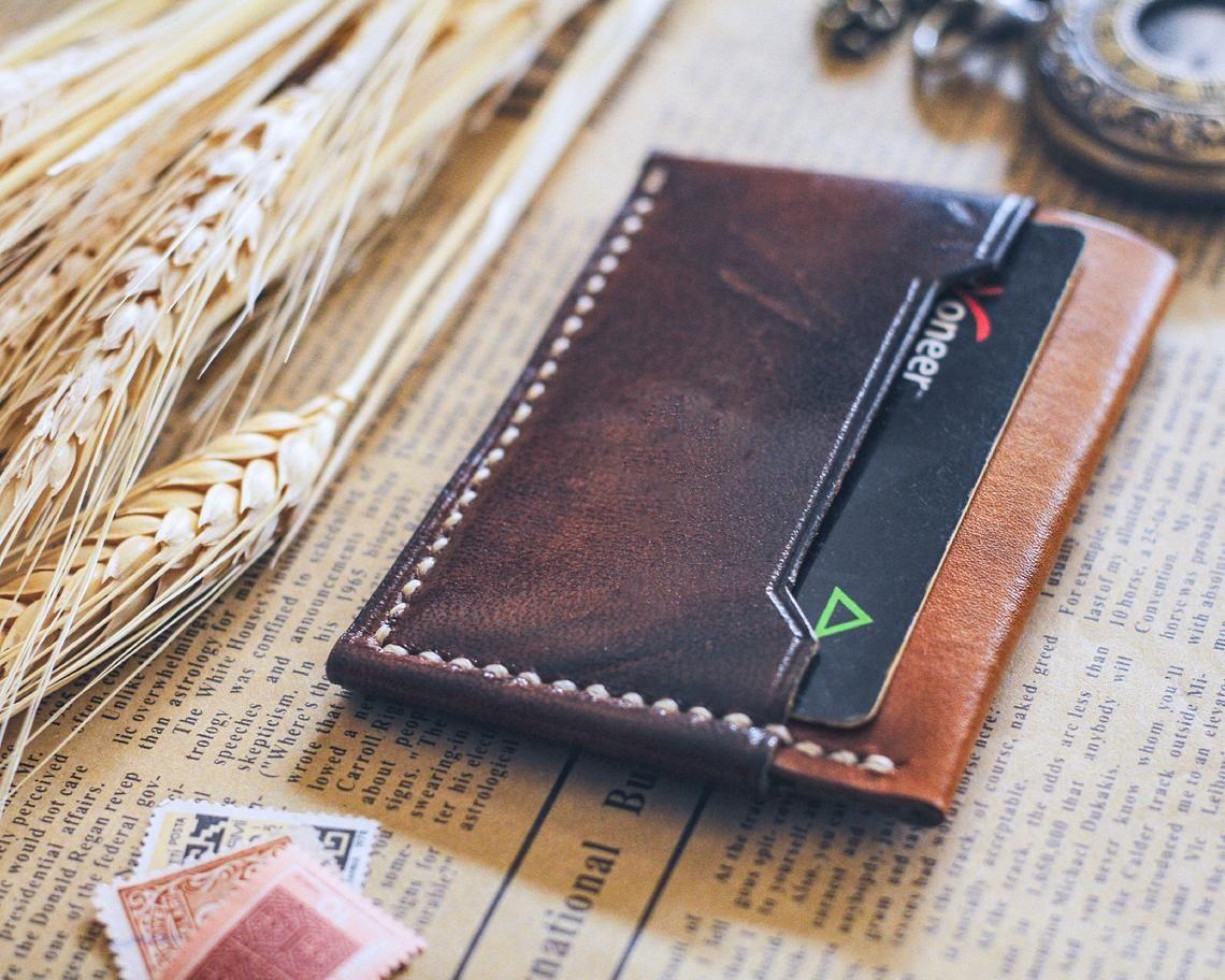 Slim Men/'s Money Clip Pocket Minimalist Genuine Leather Mens Vintage Wallet BL