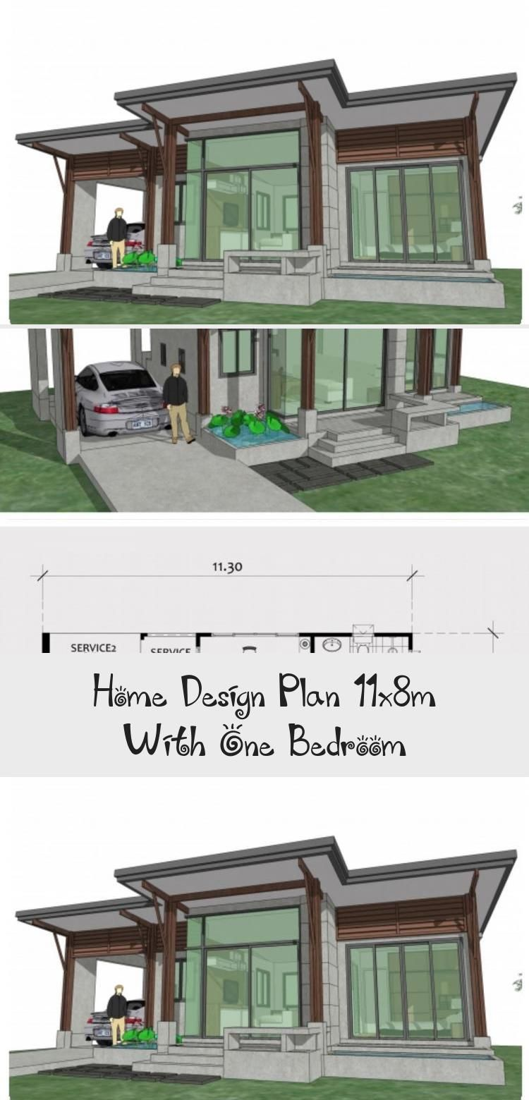 Home Design Plan 11x8m With One Bedroom Home Design With Plansearch Smallhouseplansunder800sqft Smallho In 2020 Home Design Plan Courtyard House Plans House Design