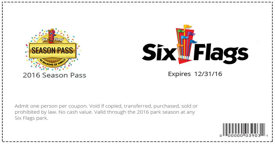 Get Your Discount 1 Per Person Six Flags Six Flags Season Pass Fun Activities For Kids