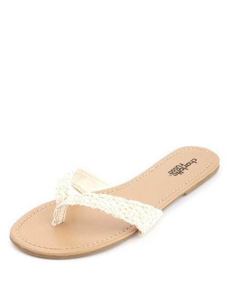 f1de2f2f1e1e Crochet Thong Sandals  Charlotte Russe