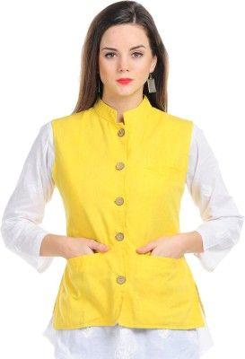 d8307b36fafdea Sobre Estilo Sleeveless Solid Women s Nehru Jacket - Buy Yellow ...