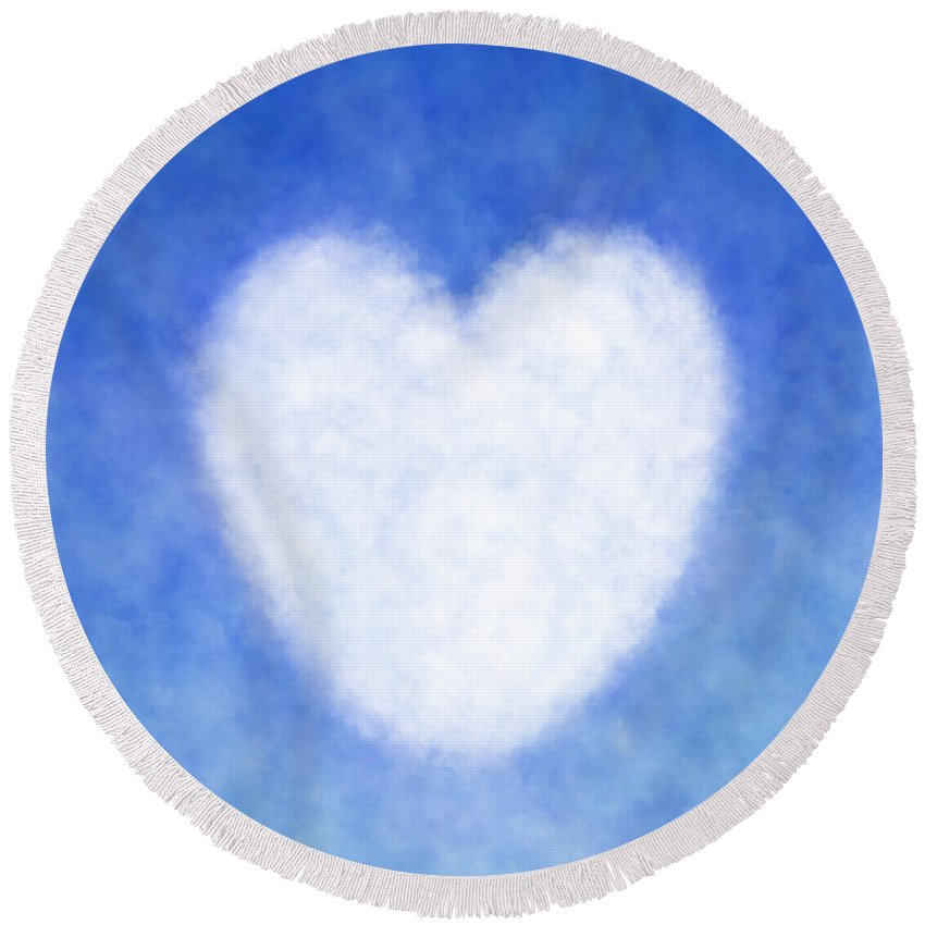 Cloud Heart Peaceful White Heart Shaped Cloud With Blue Sky Round Beach Towel For Sale By Lj Knight Round Beach Towels Colorful Backgrounds Blue Sky