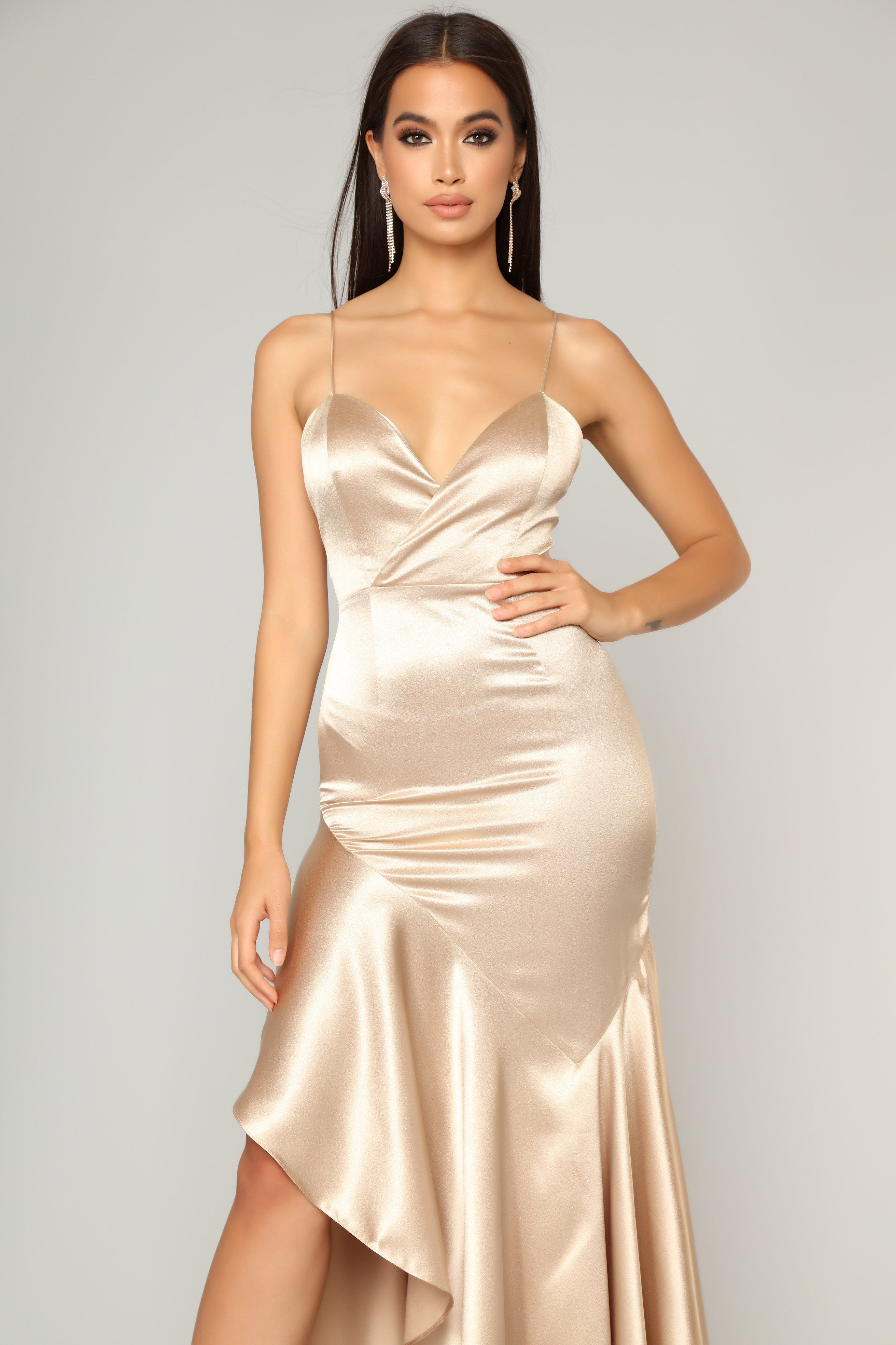 bbd6e6c0ee1 Temporary Love Satin Mermaid Dress - Gold in 2019