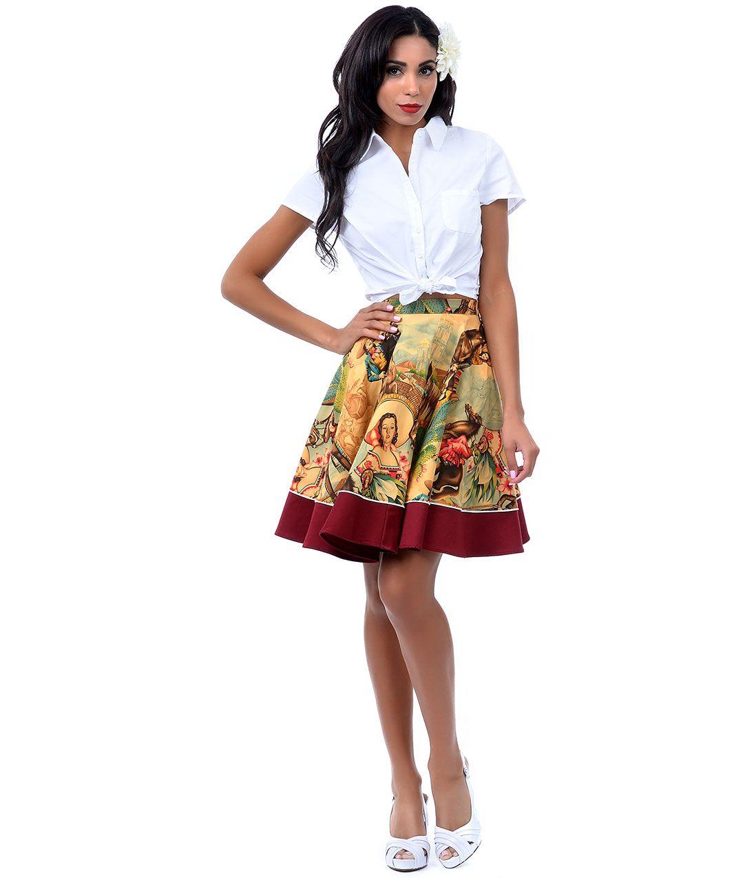 Retro Maroon & Charras Print Sadie Pin Up Swing Skirt #uniquevintage