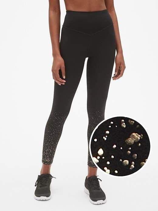 05d3e740dd573 GapFit High Rise Blackout Metallic Ombre Full Length Leggings ...
