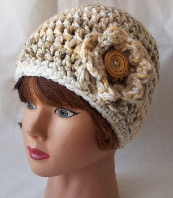 Crochet Flower Hat Chunky Crochet Hat by KarensCrochetCottage