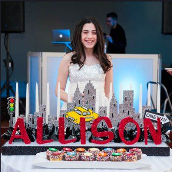 A NYC Themed Display With Cupcakes Made Up This Unique Candle Lighting For  This Bat Mitzvah