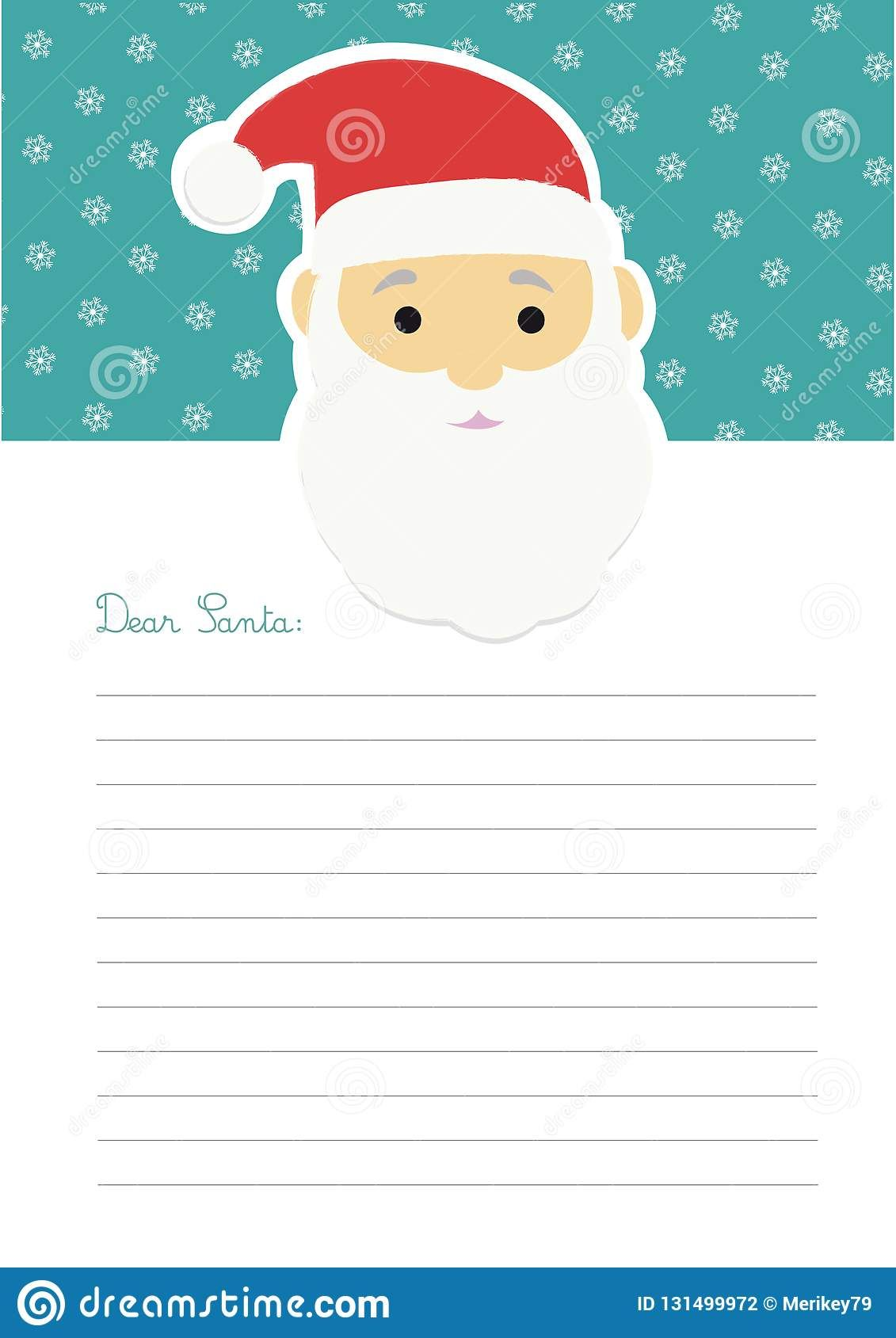 Letter Template To Santa Claus Stock Vector Illustration