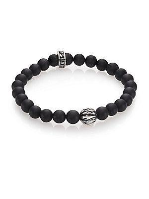 King Baby Studio Onyx & Silver Feather Beaded Bracelet - Black