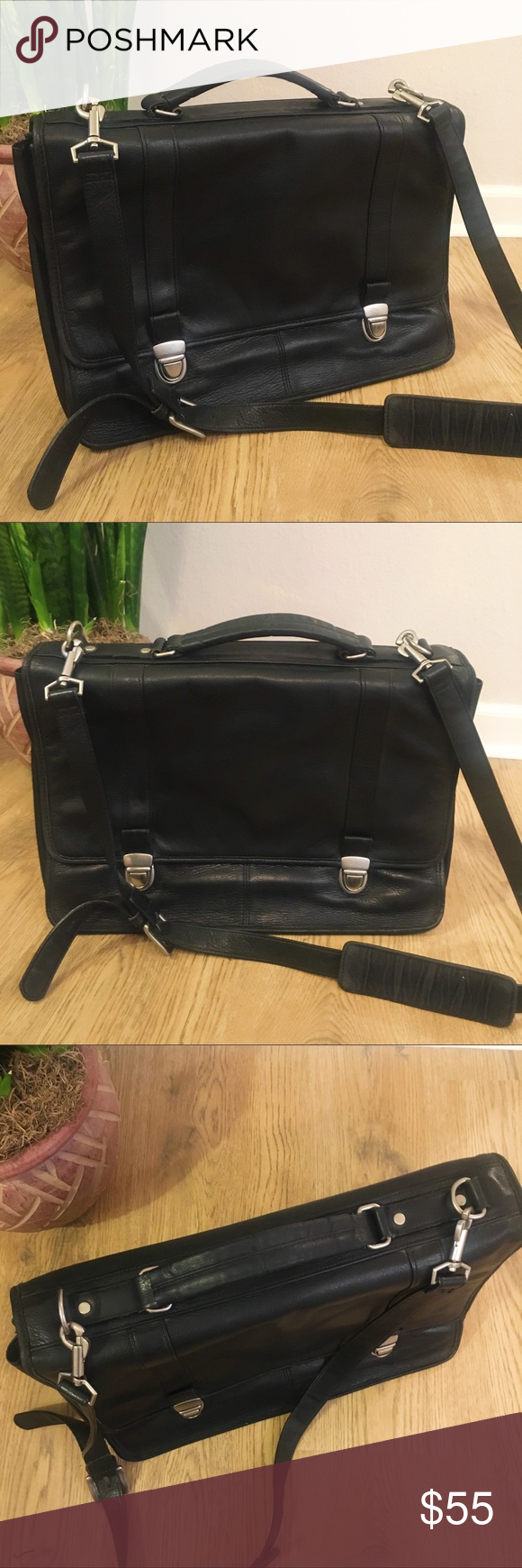 Wilson's Leather Black Briefcase Wilsons leather bag