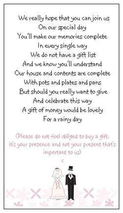 How To Ask For Money For Wedding Gift Poems 3