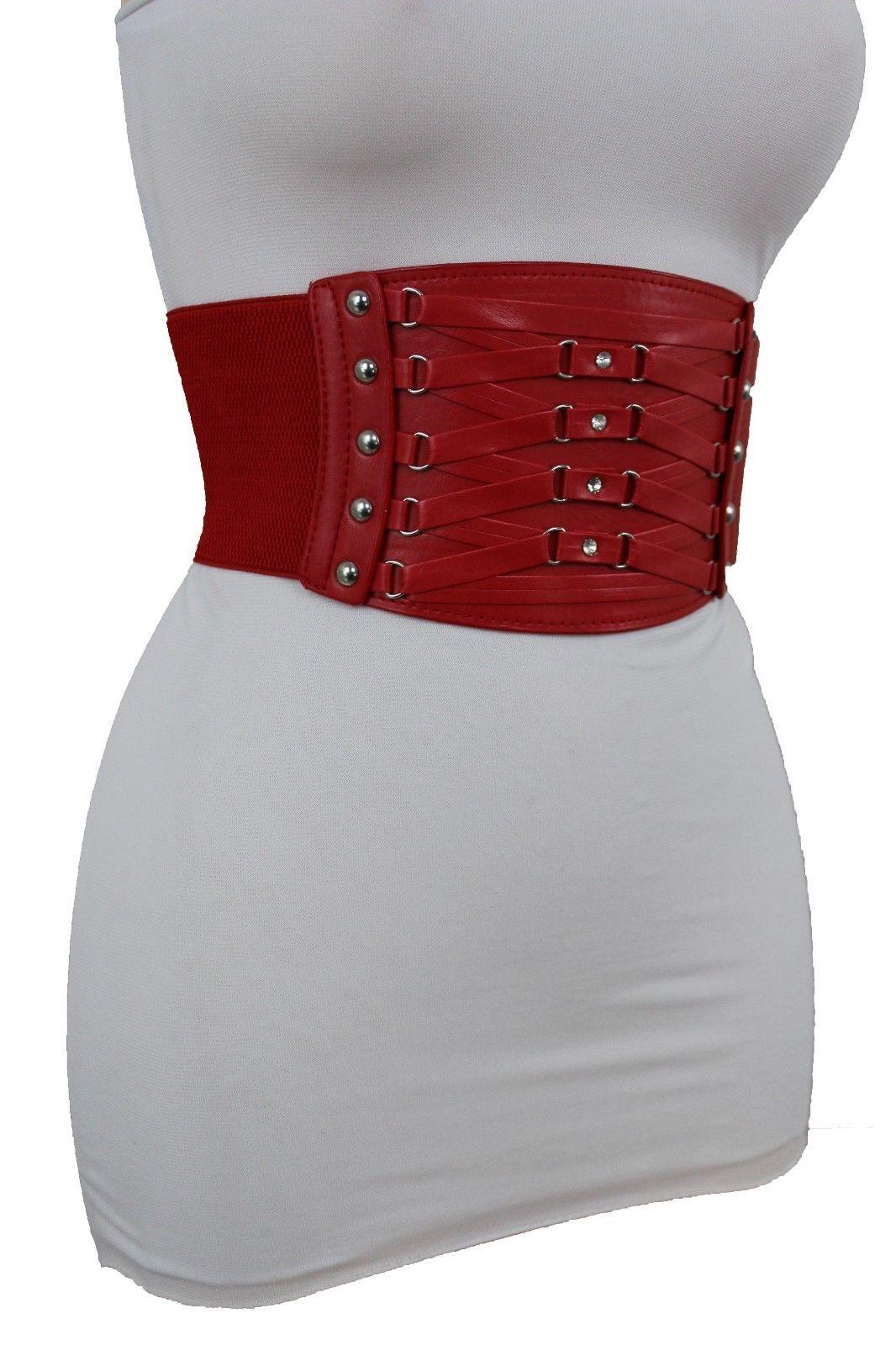 86d242169c5 12 Different Colors Faux Leather Elastic Belt Corset Silver Metal ...