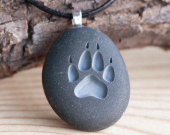 Photo of Puppy Lover PAW print – Tiny PebbleGlyph (C) necklace – engraved stone necklace by sjEngraving