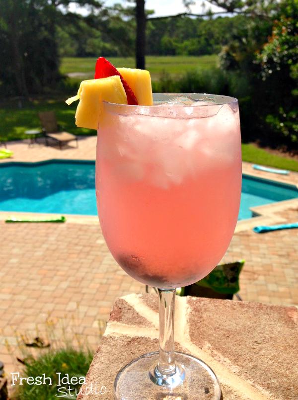 Sparkling Pink Grapefruit and vodka