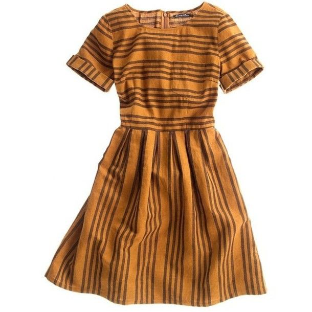 adc5baa7ea9 dress stripes mustard yellow amber mocha brown retro madewell cuff sleeve  fit and flare a-line