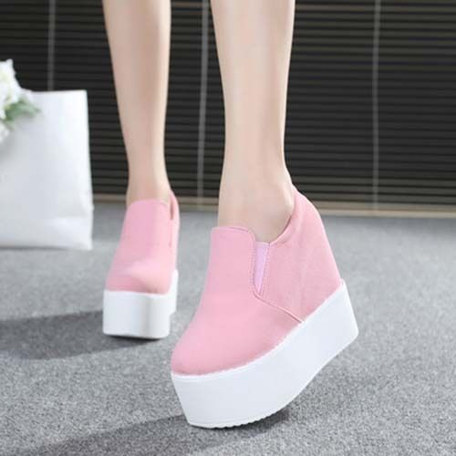 Korean Womens Canvas Platform Slip On Pump Stylish Sneakers Wedge Heel Shoes Sz