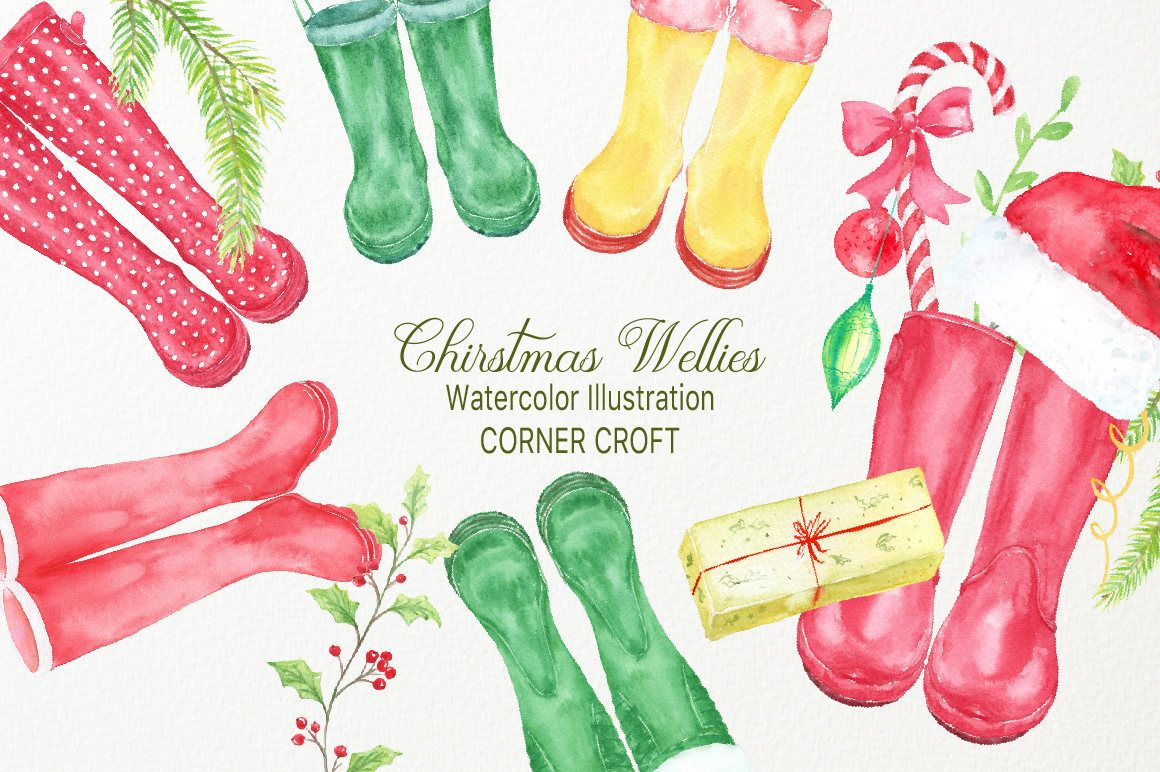 Christmas Rubber Boots Christmas Wellies Watercolor Wellington