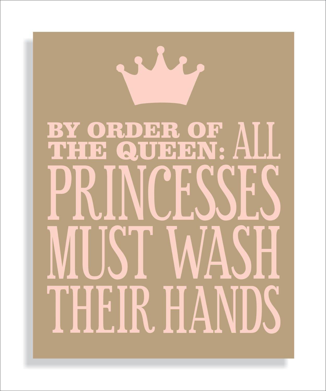 Princess Bathroom Art Print, Girls bathroom wall decor- Wash Your Hands-11x14 Kids Wall Art Typography. $14.00, via Etsy.