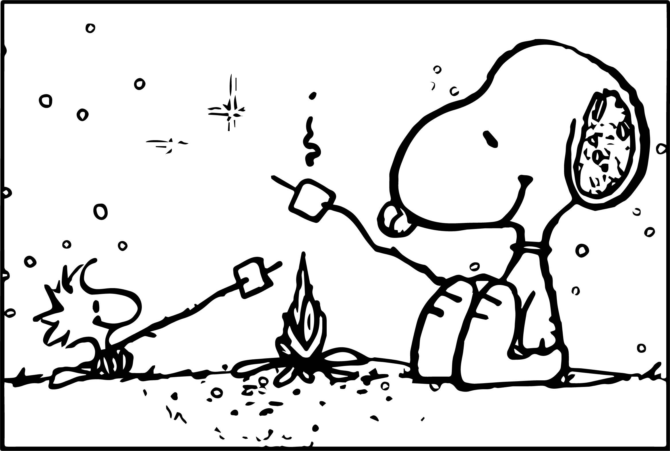 Snoopy Camping Coloring Page