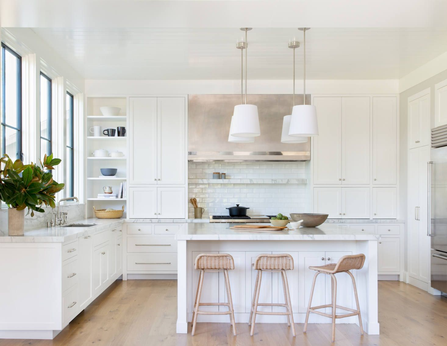 Mill Valley Makeover A Historic California House Remodel With Traditional Modern Flair All White Kitchen Contemporary Kitchen Interior Design Kitchen