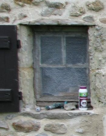 Old window, in dire need of replacement. It was covered with plastic because there was no glass left!