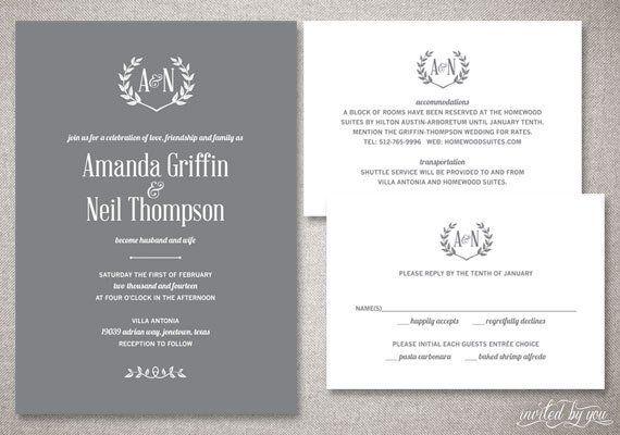 rustic monogram amanda wedding invitations suite laurel wreath
