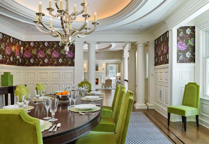 12 salles à manger contemporaines avec des chaises de couleur verte ...