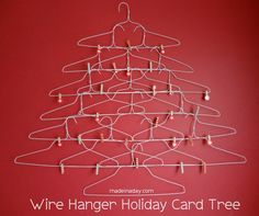Quirky Wire Hanger Holiday Card Holder | Wire hangers, Holidays ...