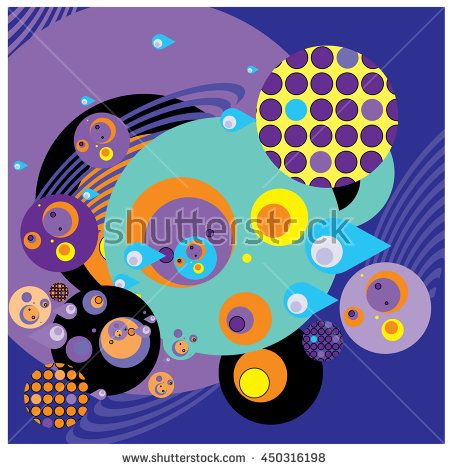 Vector fabric circles abstract colorful wallpaper pattern background - stock vector