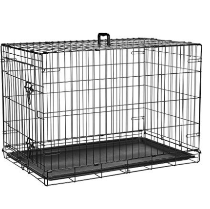 Amazonbasics Single Door Folding Metal Cage Crate For Dog Or Puppy 36 X 23 X 25 Inches Be Sure To Check Out This Awesome Produc Pet Crate Dog Crate Crates