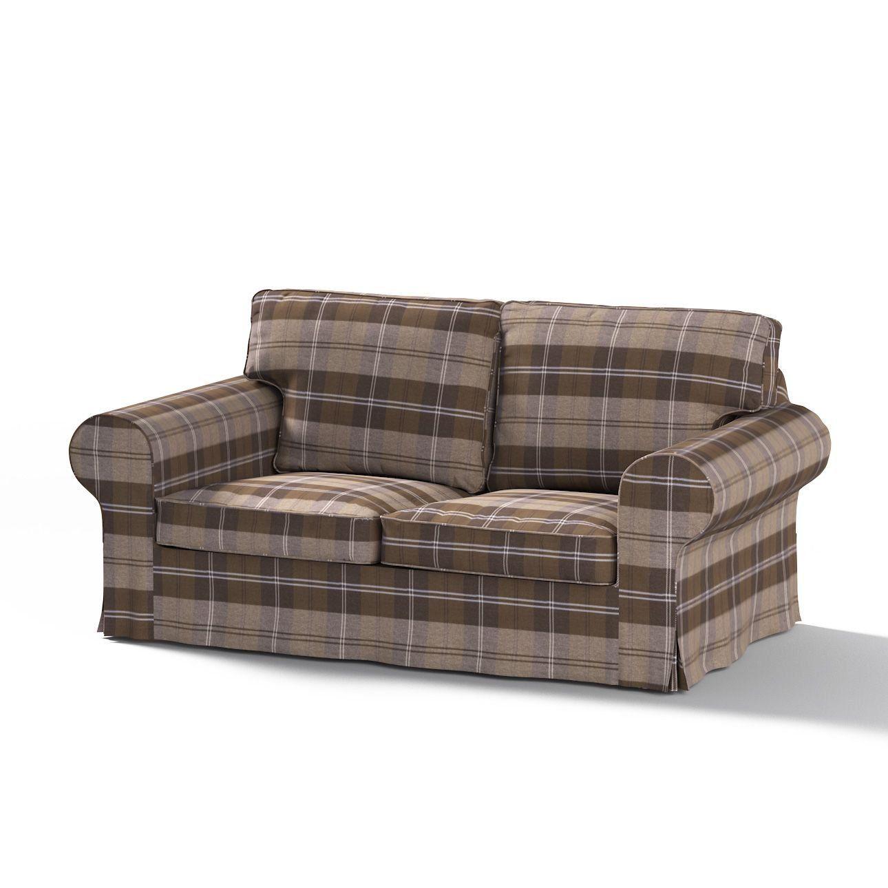 Dekoria Fire Retarding Ikea Ektorp 2-seater sofa bed cover (for model on sale in Ikea 2004-2012) - brown & beige tartan