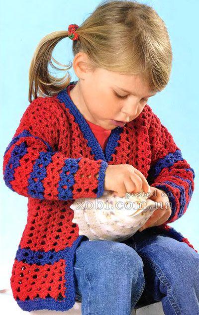 Chaleco niña rojo y azul красивый летний жакет для девочки вязаный крючком