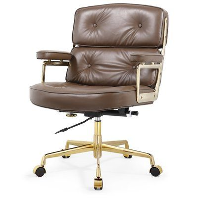 Meelano Genuine Leather Executive Chair Adjustable Office Chair