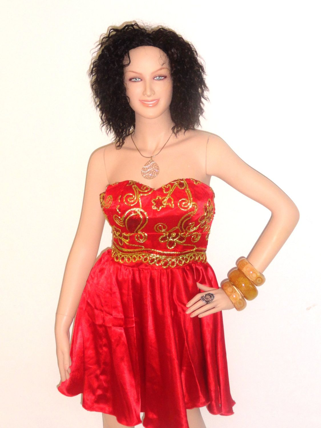 JUJU African Red And Gold Lace Strapless Cocktail Dress | African ...