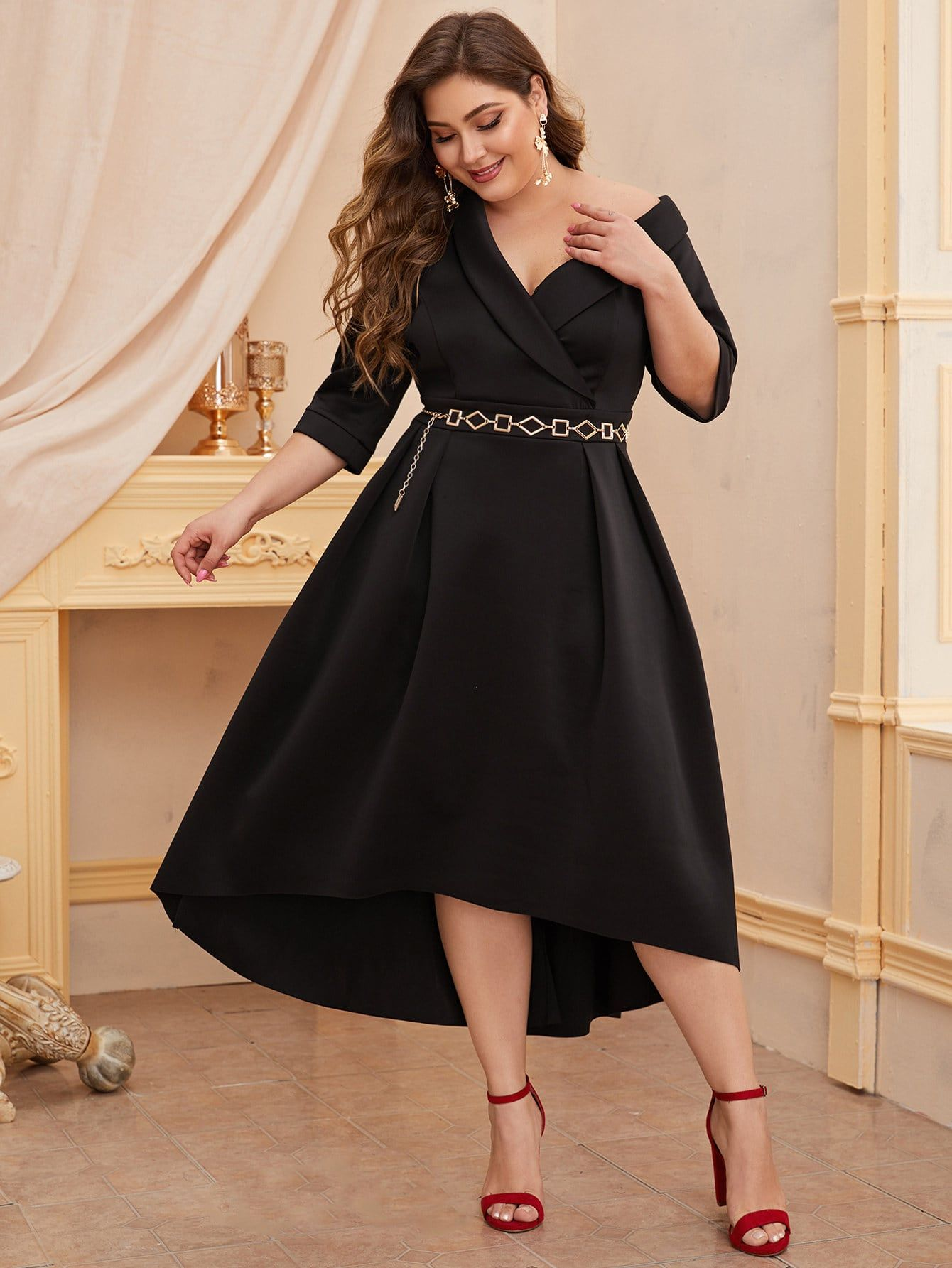 Ad Plus Asymmetrical Shawl Collar High Low Hem Dress Without Belt Tags Glamorous Black Plain Asymmetricalneck Shaw High Low Hem Dresses Dresses Hem Dress [ 1785 x 1340 Pixel ]