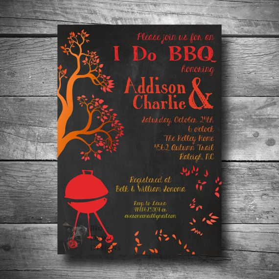 I Do Bbq Engagement Party Invitation Fall Theme Printable Email