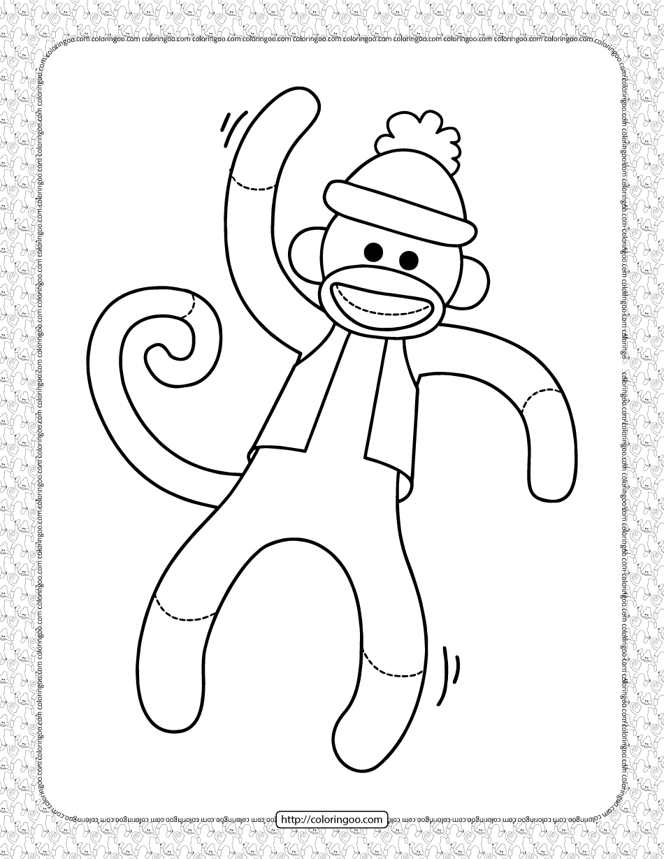 Capped Monkey Coloring Page Monkey Coloring Pages Sock Monkey Crafts Sock Monkey Party