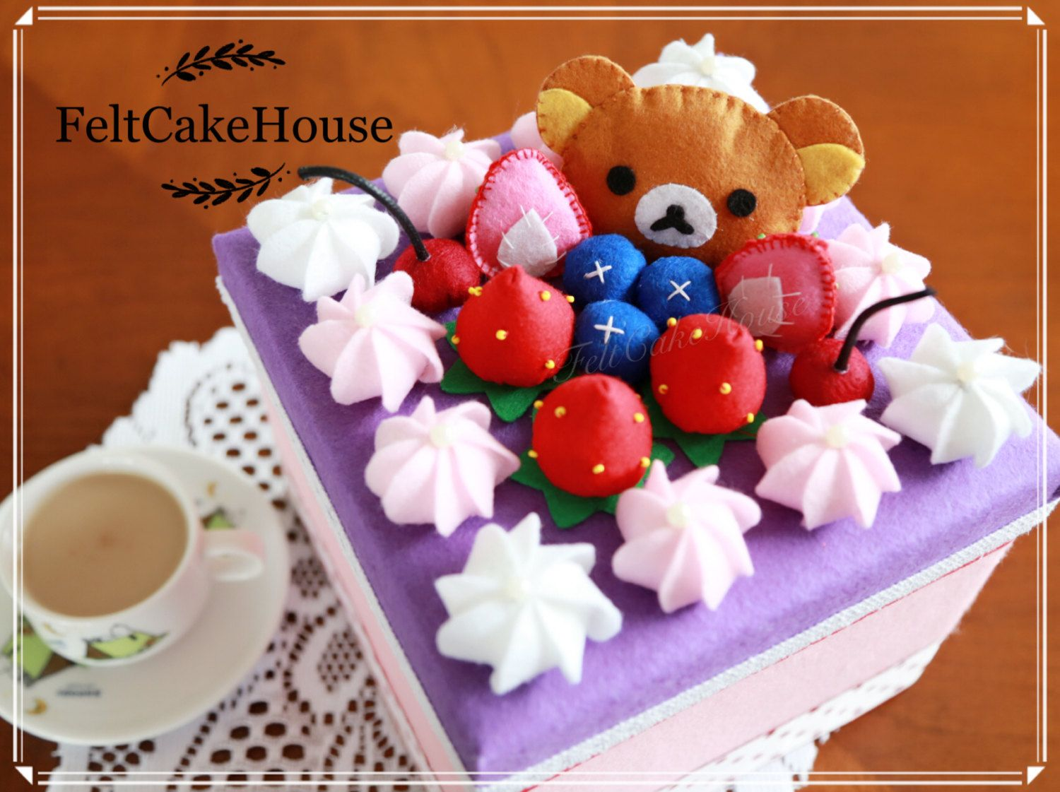 Decorative Food Boxes Free Delivery Bear Felt Box Felt Cake Felt Food Jewelry Box