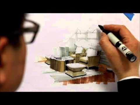 Tutorial - Freehand Marker Interior Rendering, MLib Living Room, HD Short 10 Min, 160115 - YouTube