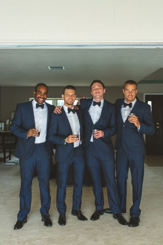 Navy Suits With Black Bow Ties Wedding Suits