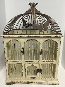 Vintage Style Decorative Birdcage Wood Steel Off White Stressed Finish W Brown Ebay