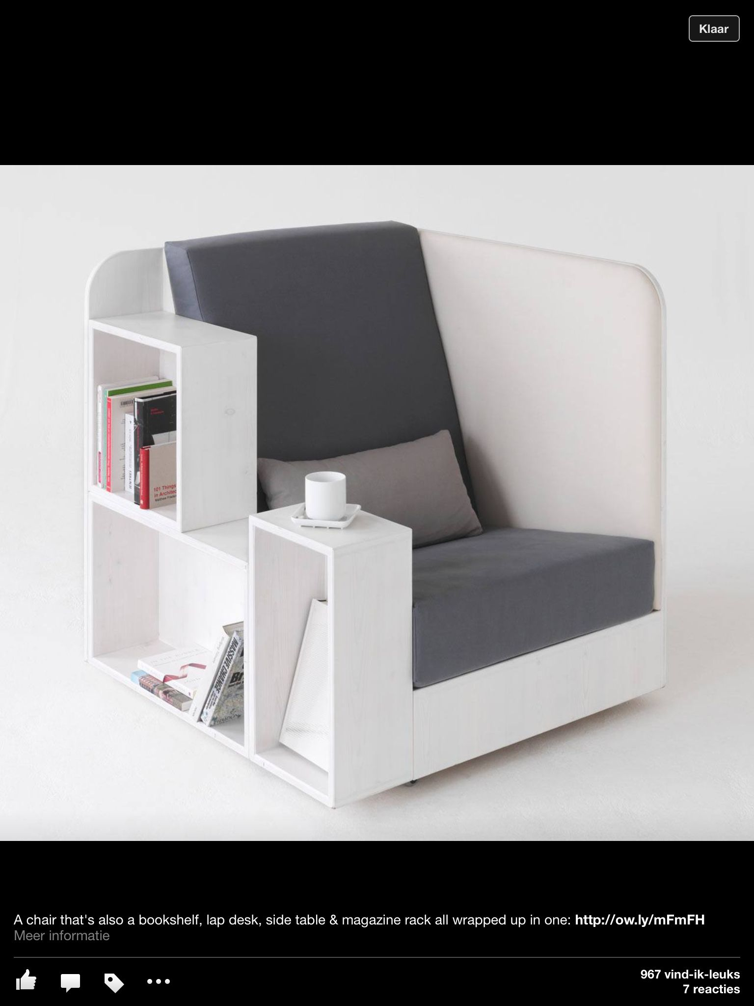 A Chair That Is Also Bookshelf Lap Desk Sidetable And Magazine Rack