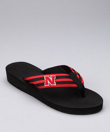 Flip flops and Huskers...perfect for game day in the early fall.
