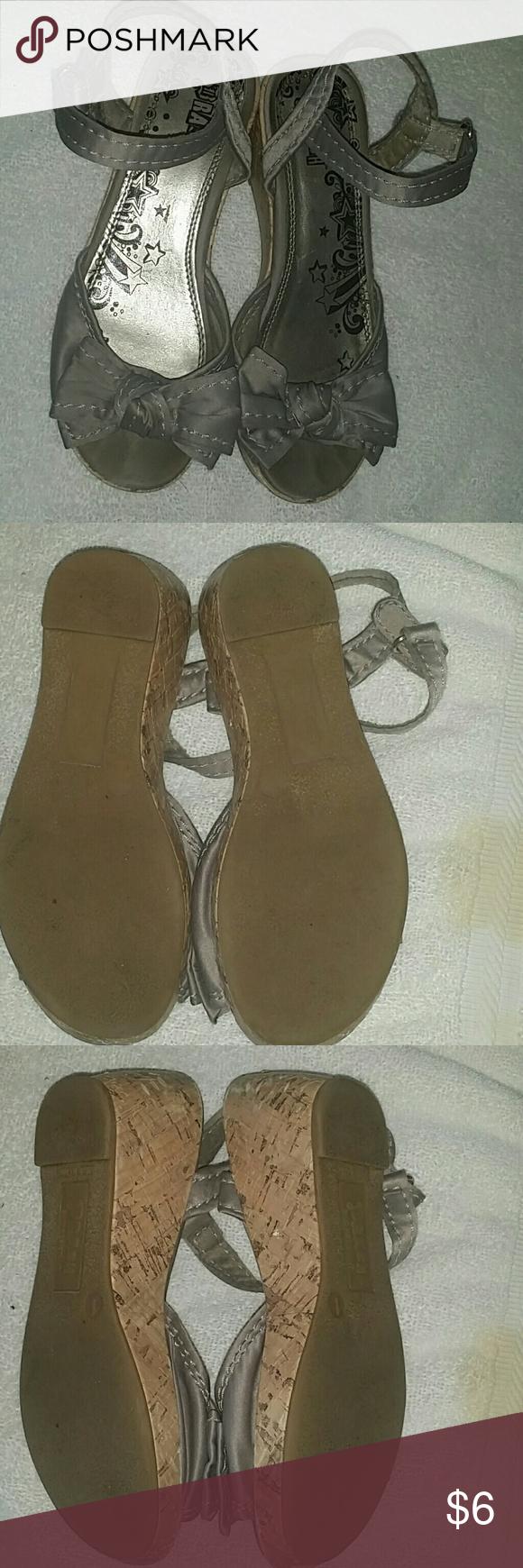 Sandal- Girls Grey sandal.  Velcro side latch.  Low wedge. Brash Shoes Sandals