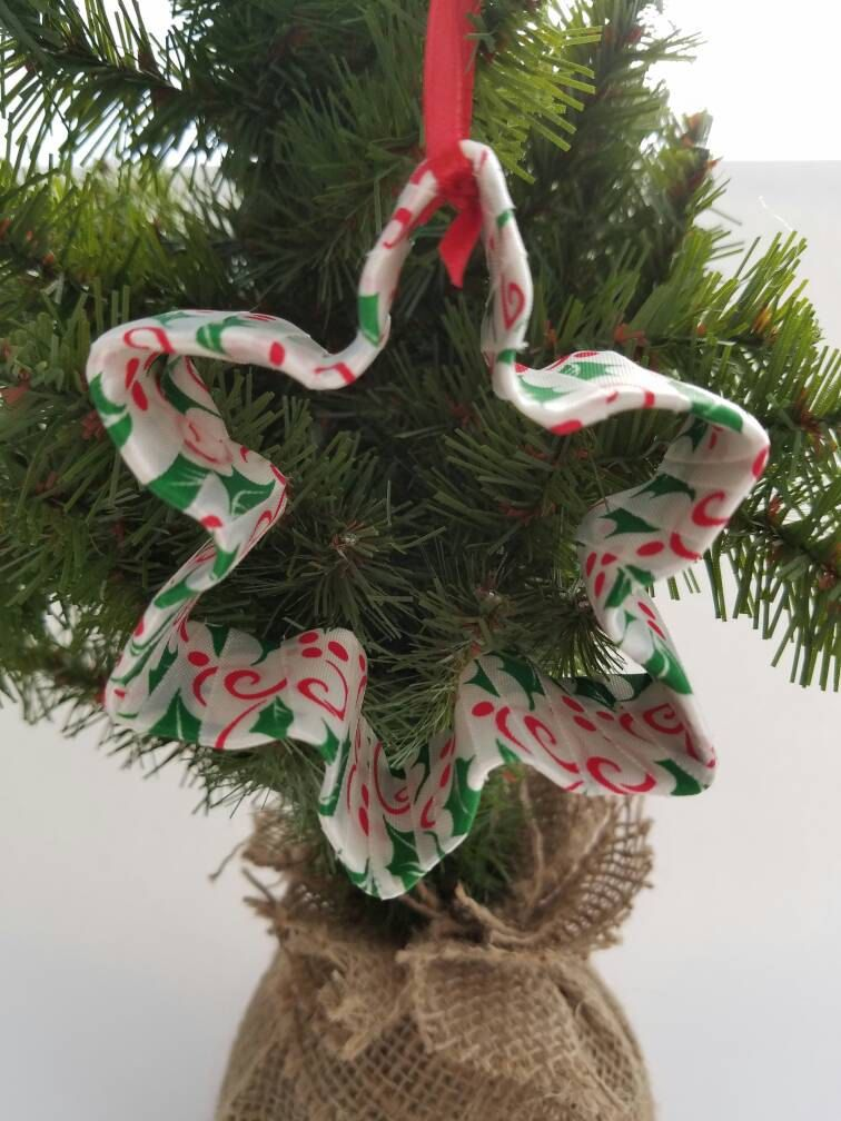 White Red and Green Ribbon Wrapped Snowflake Cookie Cutter