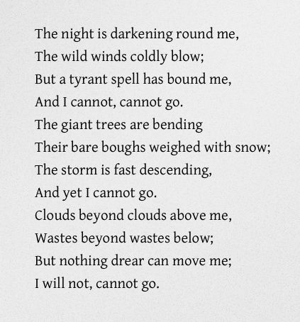 """""""The night is darkening round me, The wild winds coldly blow; But a tyrant spell has bound me, And I cannot, cannot go.""""  - Emily Bronte #emilybronte"""