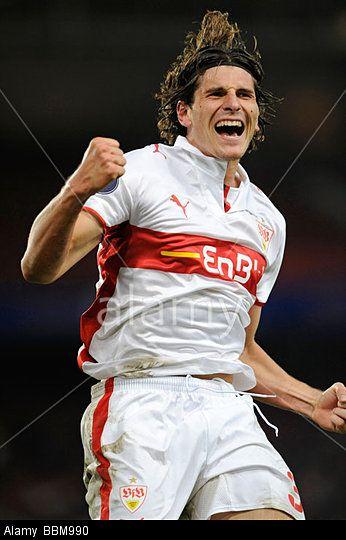 Mario Gomez German Footballer Playing For Vfb Stuttgart Goal Celebration Mario Gomez Goal Celebration Football