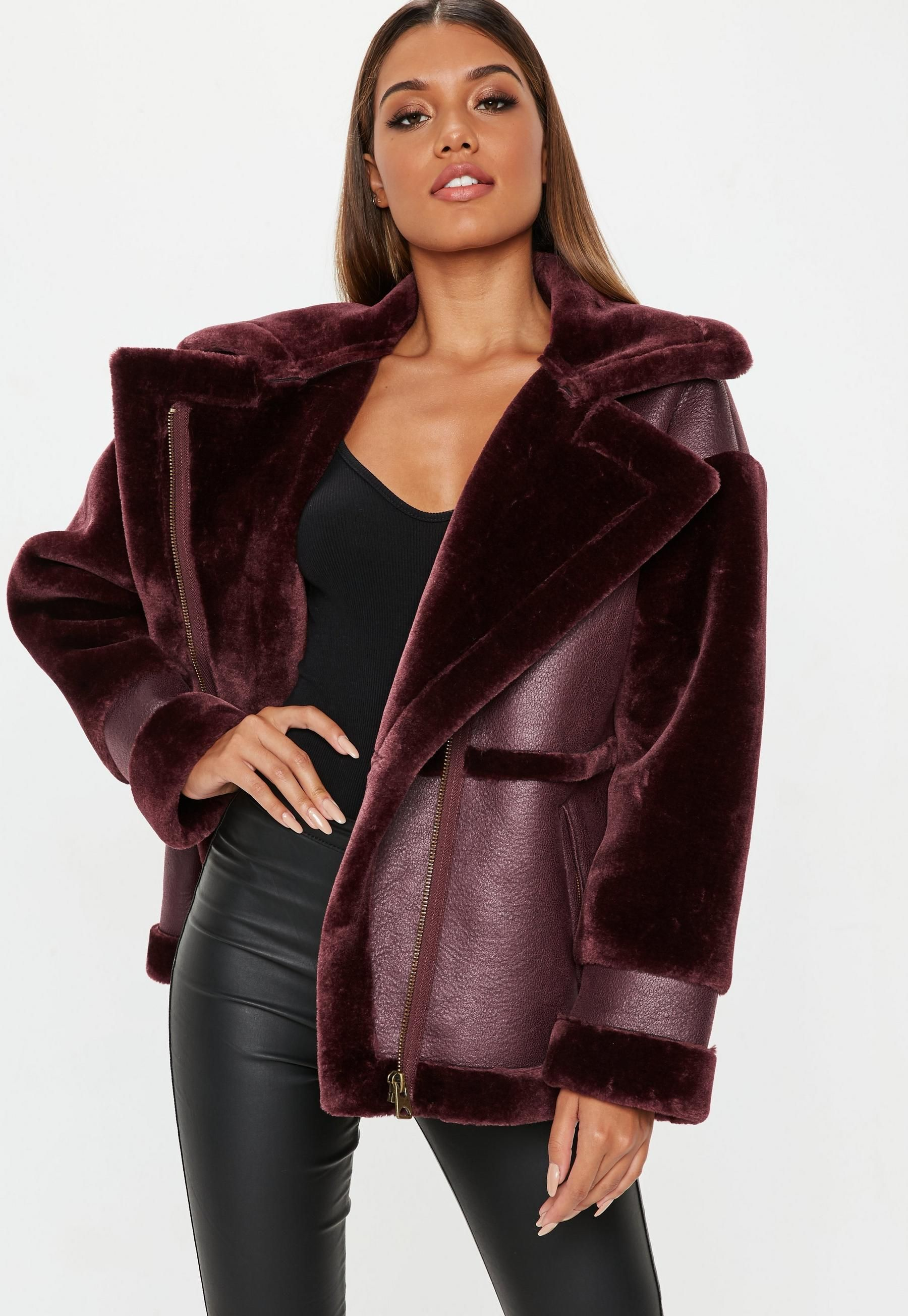 Wine Faux Fur Sleeve Aviator Jacket Missguided Coats