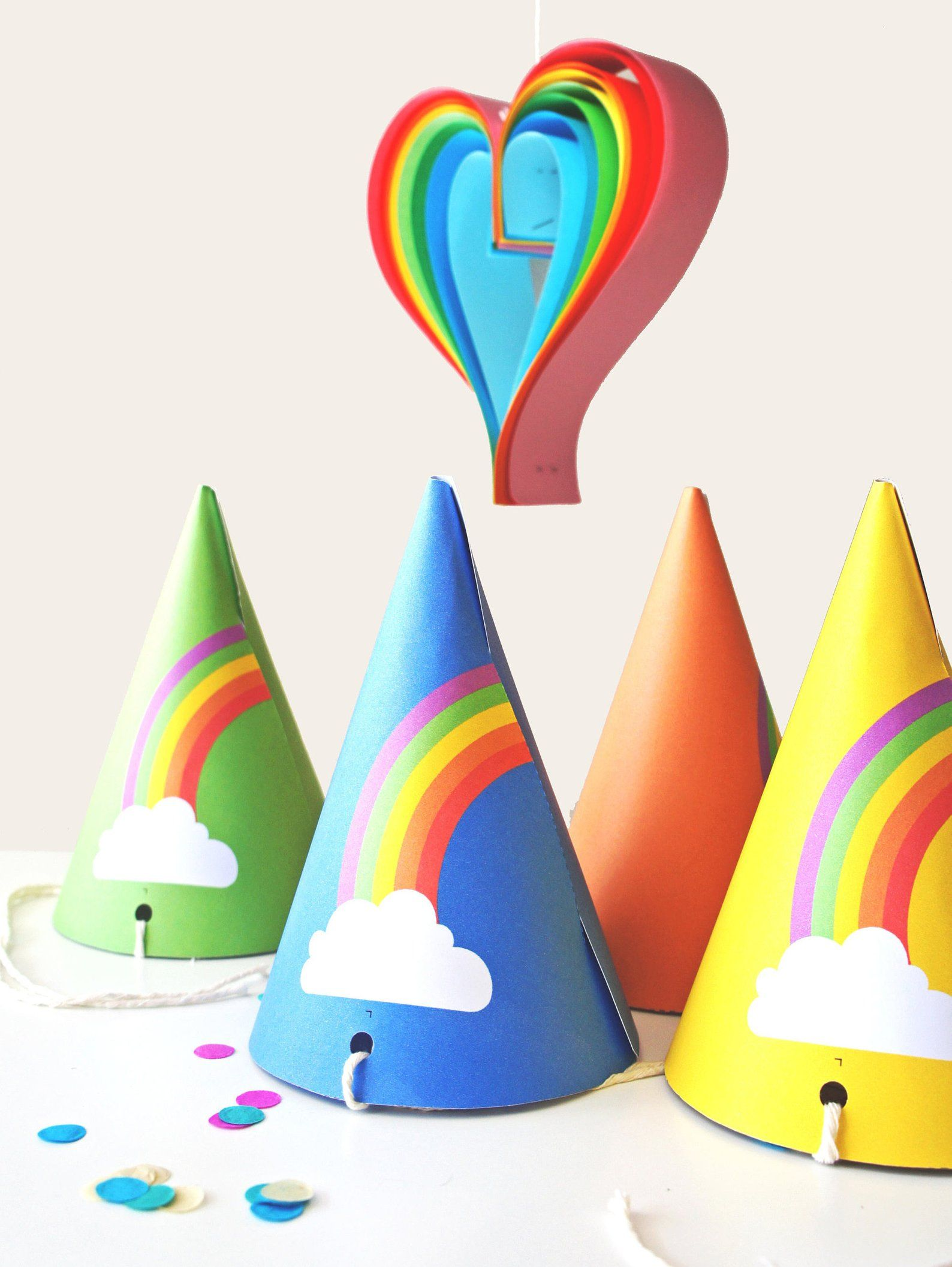 Rainbow Party Hats Instant Download Printable Colorful Kids Etsy